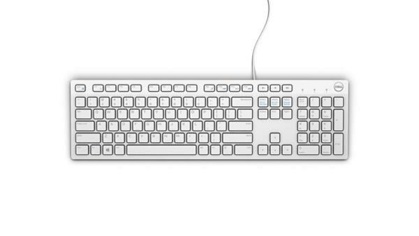 Keyboard : US-Euro (Qwerty) Dell KB216 Quietkey USB, White